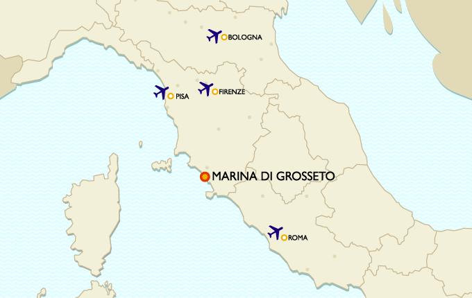 Porto della Maremma by plane